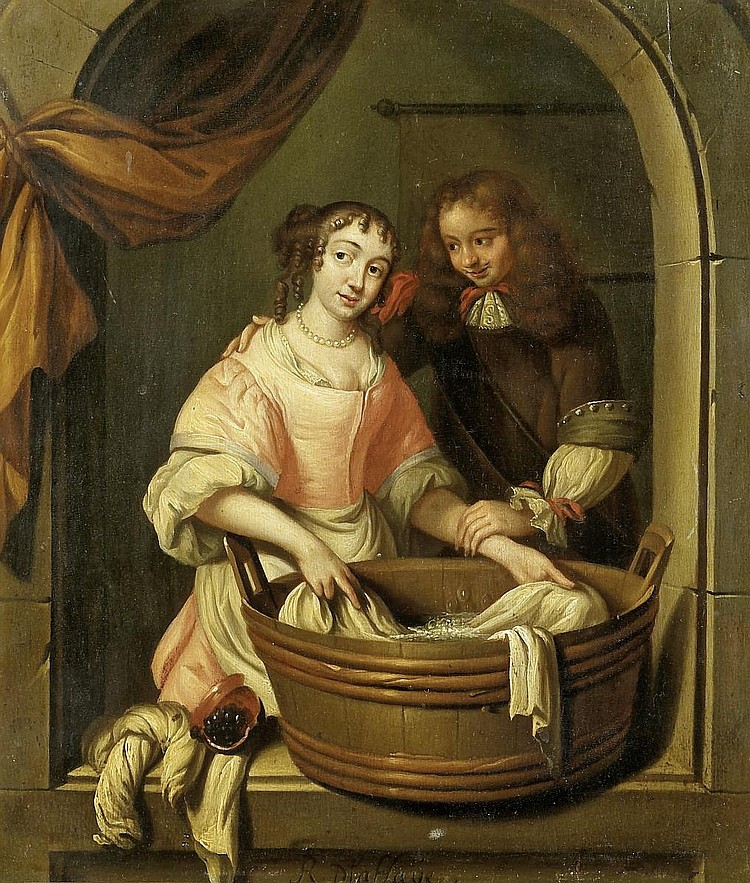 Haye, Reinier de laaround 1640 The Hague - after 1695  A couple and a washing trough in a window niche.