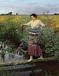 Bergen, Carl von1853 Cuxhaven - 1933 Munich  Peasant girl balancing over a brook., Carl