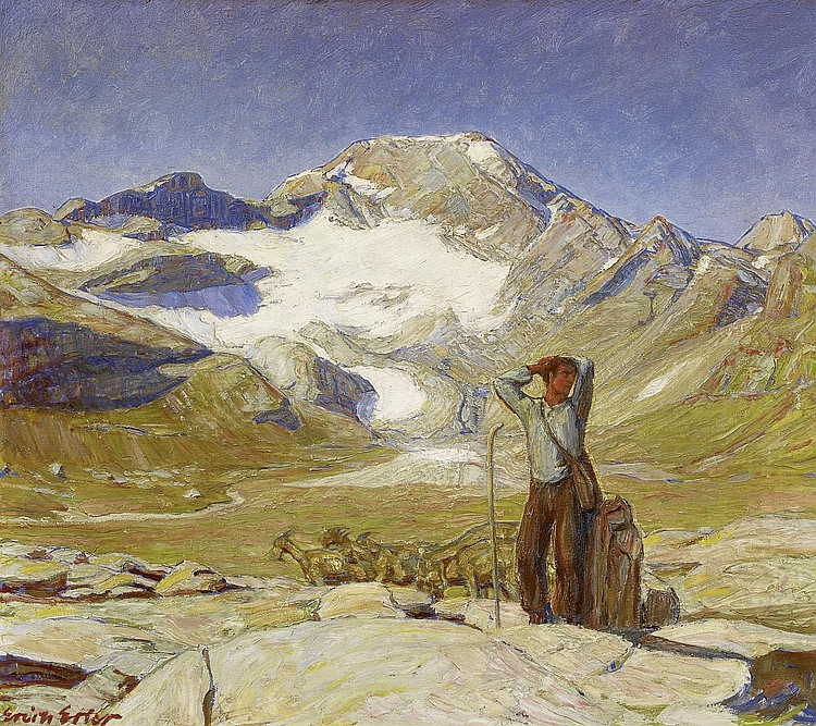 Erler, Erich (also Erich Erler-Samedan)1870 Frankenstein - 1946 Icking  Goatherd in the highlands.