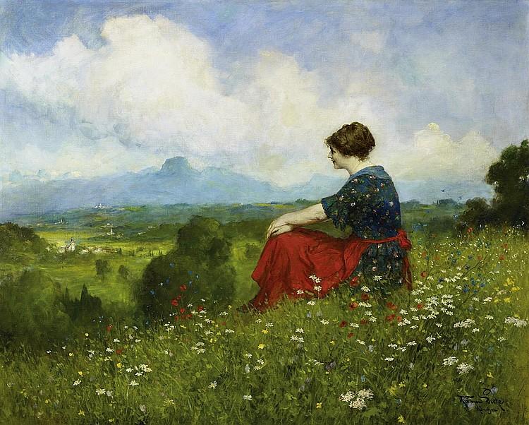 Leeke, Ferdinand1859 Burg/Magdeburg - 1923 Nuremberg  A summer day in the Alps.