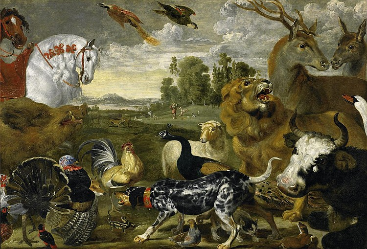 Vos, Paul dearound 1596 Hulst - 1678 Antwerp - and workshop  The Garden of Eden and the creation of Adam and Eve.