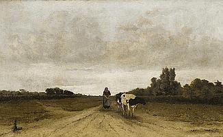 Landschaft mit Bäuerin und Kuh