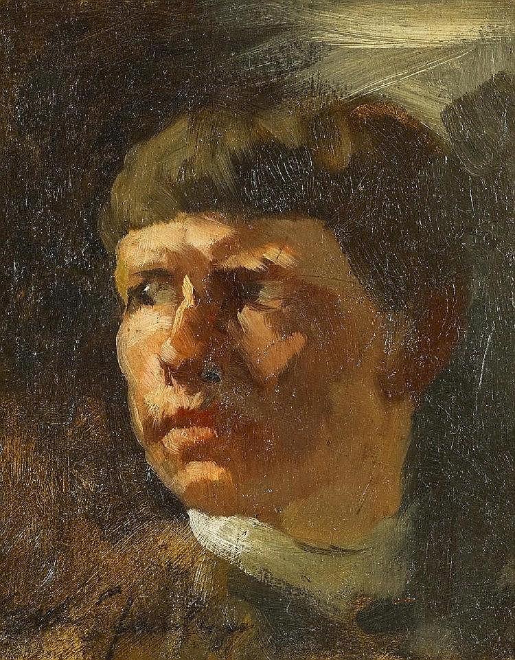 JANSSEN, GERHARDSelbstporträt. Öl auf Platte. 20,5