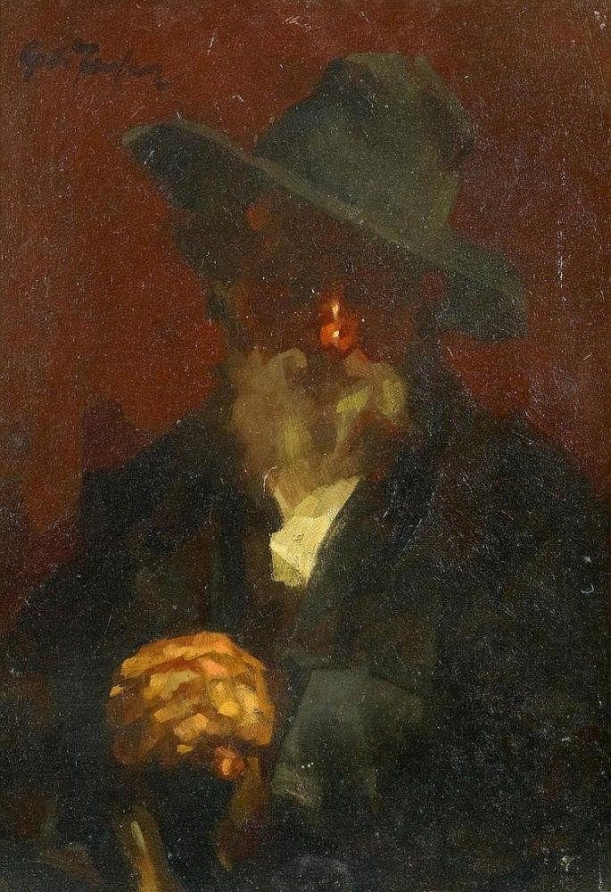 JANSSEN, GERHARDAlter Mann mit Hut. Öl auf Holz.