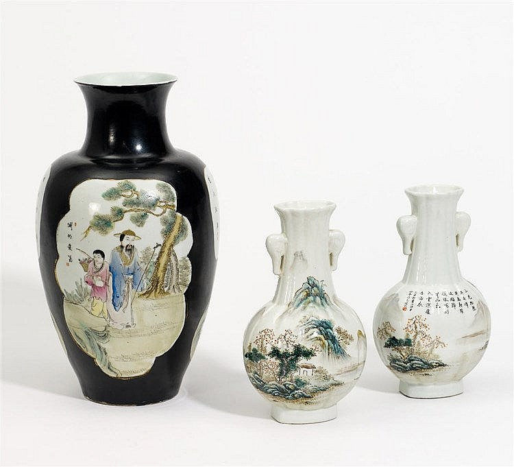 PAIR OF VASES WITH LANDSCAPE.