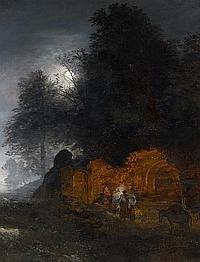 Achenbach, OswaldDüsseldorf 1827 - 1905 Landscape with Ruins and Shepherds by a Fire.