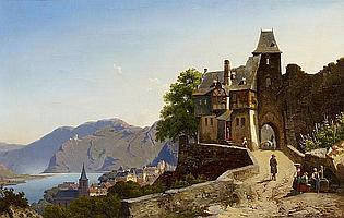 Pulian, Gottfried1809 Meißen - 1875 Düsseldorf Landscape by the Moselle.