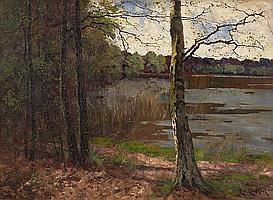 Eicken, Elisabeth von1862 Mülheim/Ruhr - 1940 Michendorf Spring by a Lake in Mecklenburg.