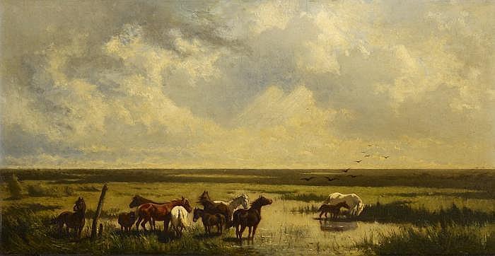 Raffalt, Johann Gualbert1836 Murau - 1865 Rome Horses in the Puszta.