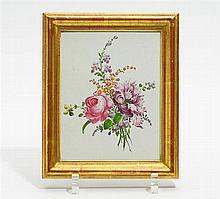 Ofenkachel mit Blumenbouquet