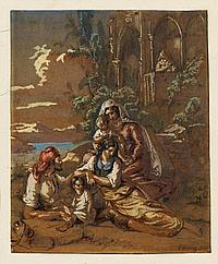 GRASHOF, OTTO 1812 Prenzlau - 1876 Köln Familie bei der Rast. Mischtechnik auf Papier. 20,5 x 16,8cm. Signiert und datiert unten rechts: O Grashof 1852. Rahmen.