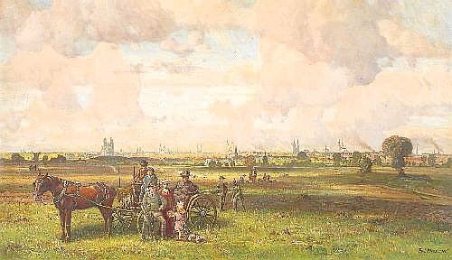 Riess, Paul 1857 Fichtwerder - 1933 Dessau  View from a bank on a wide panorama of a hanseatic city (?).