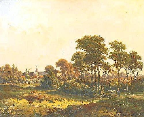Bakhuyzen, Alexander Hieronymus 1826 The Hague - 1878 Middelburg  Summer idylle.