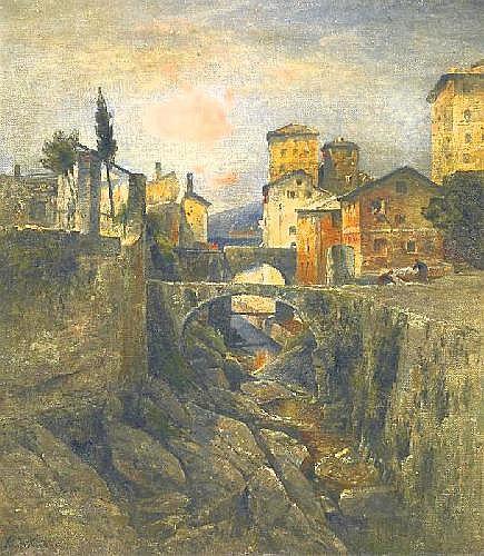 Astudin, Nicolai von 1847/49 Moskau - 1925 Oberlahnstein  Ligurian mountain village.