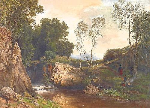 Arnz, Albert Düsseldorf 1832 - 1914  On the riverbank in the forest.