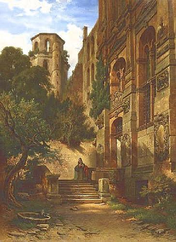 Kirchner, Albert Emil 1813 Leipzig - 1885 Munich  The Heidelberger castle.