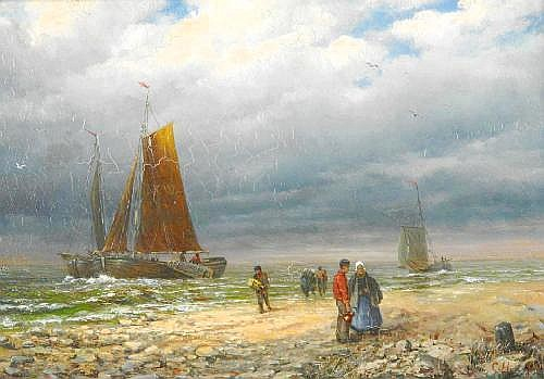 Hölscher, Constantin 1861 Bad Godesberg - 1921 Berlin  Fishermen by the north beach.