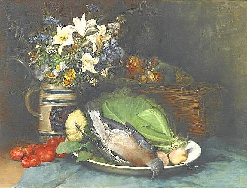Eibl, Ludwig 1842 Vienna - 1918 Munich  Variety still life with a bouquet of sunflowers and mushrooms as well as different vegetables and a songbird.