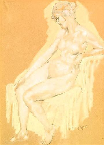 Eichler, Reinhold Max 1872 Mutzschen (Sachsen) - 1947 Munich  Female nude in the armchair.