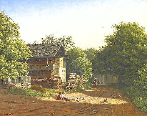 Xylander, Wilhelm Copenhagen 1840 - 1913  Idyllic village street with farmers residence.