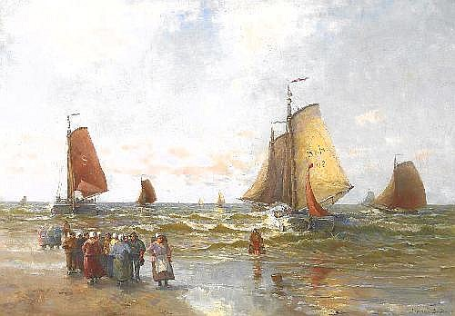 Grobe, German 1857 Hanau - 1938 Düsseldorf  Coastal fishermen by the north sea.