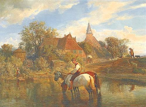 Kauffmann, Hermann the Elder Hamburg 1808 - 1889  By the town pond.
