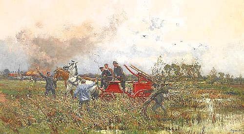 Kampf, Eugen 1861 Aachen - 1933 Düsseldorf  Fire in the town.