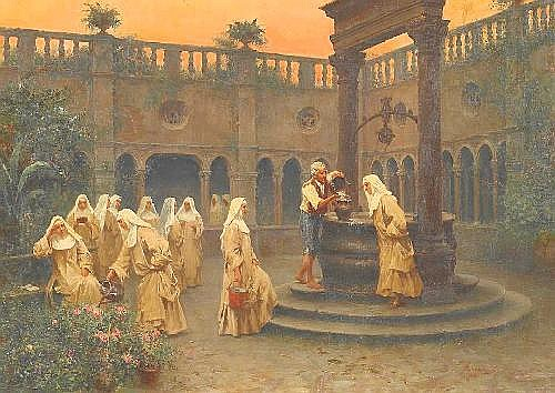 Bergamini, Francesco 1851 - 1900 was active in Rome  Evening mood in the Monastry.