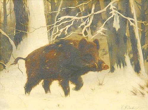 Deiker, Carl Friedrich 1836 Wetzlar - 1892 Düsseldorf  Wild boar in the winter forest.