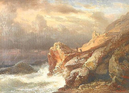 Kummer, Robert ('Carl Robert Kummer') Dresden 1810 - 1889  Rough breaking waves in front of the scottish coast.