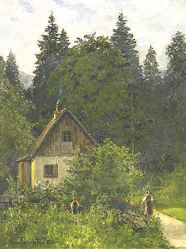 Bernuth, Ernst von 1833 Haus Aspel / Rees - 1923 Düsseldorf  Summerday in the mountains.