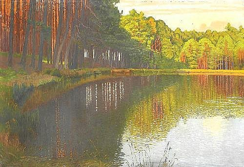 Vorgang, Paul Berlin 1860 - 1927  View on a quiet forest lake.