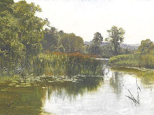 Schleich d.J., Eduard Munich 1853 - 1893 - attributed  Pond landscape.