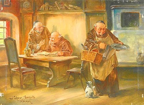 Lehmann-Leonhard, Wilhelm 1877 Schlesien - 1954 Ergoldsbach  Friars doing the daily chores in the parlor.
