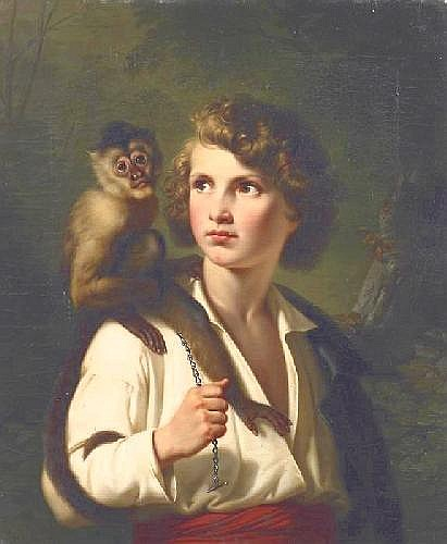 Jacobs, Paul Emil Gotha 1802 - 1866  Portrait of a boy with capuchin.