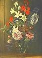 Hecke, Jan van den 1620 Quarenmonde - 1684 Antwerpen  Floral still life in a glass vase., Jan