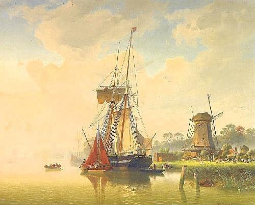 Mevius, Hermann 1820 Breslau - 1864 Düsseldorf  In a canal in front of Dordrecht.