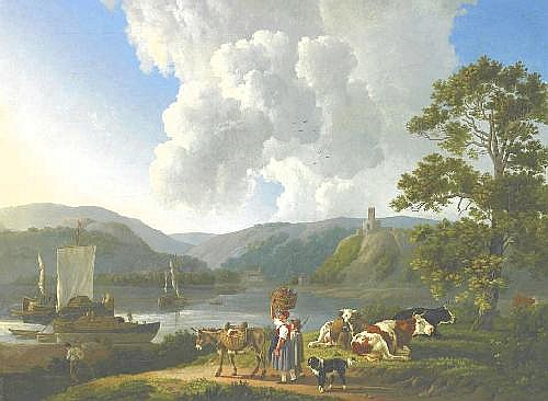 Koningh, Leendert de the Elder. Dordrecht 1777 - 1849  River landscape with shepherds and cattle.