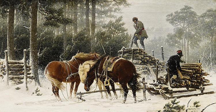 Nikutowski, Johann Arthur Severin 1830 Salwarschinen - 1888 Düsseldorf  Lumberjacks in a winter storm.