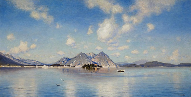 Lutteroth, Ascan Hamburg 1842 - 1923  Calm summer day on Lago Maggiore with Isola Bella beyond.