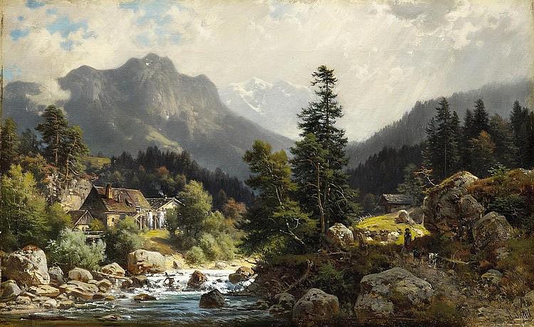 Sckell, Ludwig 1833 Schloss Berg - 1912 Munich  Landscape at Bad Tölz.