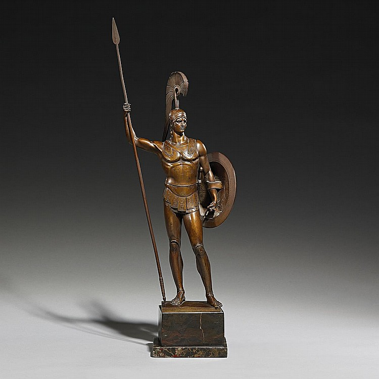 Götz, Johannes 1865 Fürth - 1934 Potsdam  Antique warrier with shield and lance, wearing a suit of armour with a feathered helmet.