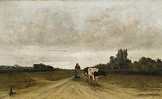Mesdag, Taco 1829 Groningen - 1902 The Hague Landscape with countrywoman and cow.