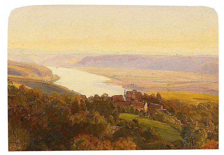Scheuren, Caspar Johann Nepomuk 1810 Aachen - 1887 Düsseldorf - attributed  View from the Apollinarisberg in Remagen over the Rhine.