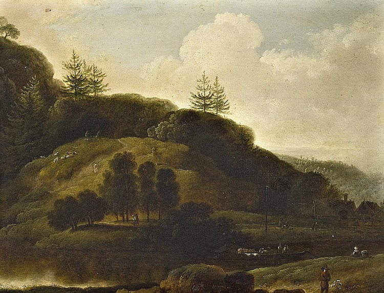 Klengel, Johann Christian 1751 Kesselsdorf - 1824 Dresden  Landscape with river and staffage.