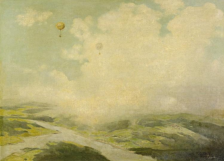 Deiker, Carl Düsseldorf 1879 - 1958  The Rhine as seen from a hot air balloon.