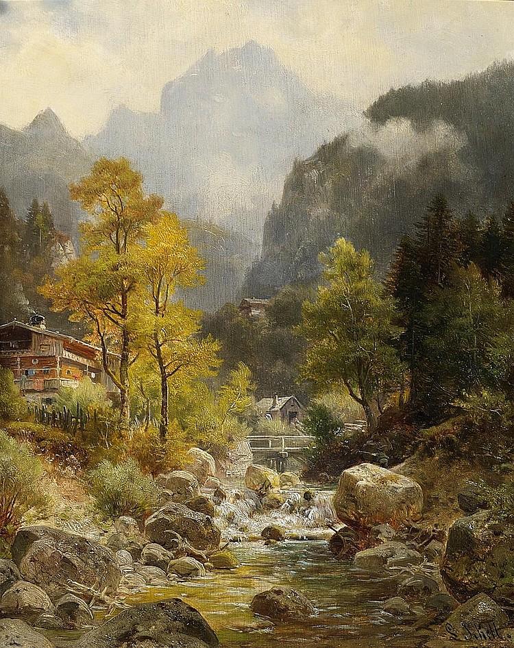 Sckell, Ludwig 1833 Schloß Berg - 1912 Munich  Fog rising in an alpine village.