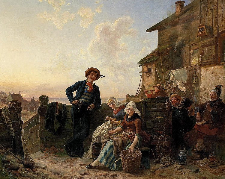 Hübner, Carl Wilhelm 1814 Königsberg - 1879 Düsseldorf  Return of the young seaman.