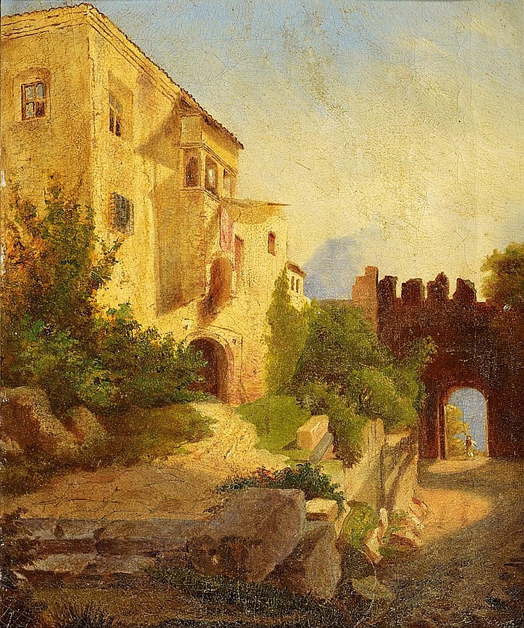 Blechen, Karl 1798 Cottbus - 1840 Berlin - circle  Palazzo at a Northern Italian lake.