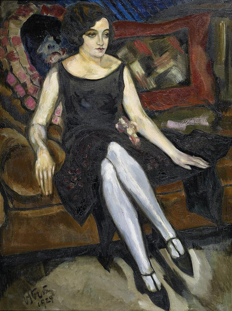 Straten, Henry van Antwerp 1892 - 1944  Portrait of a young woman sitting in an elegant dress.